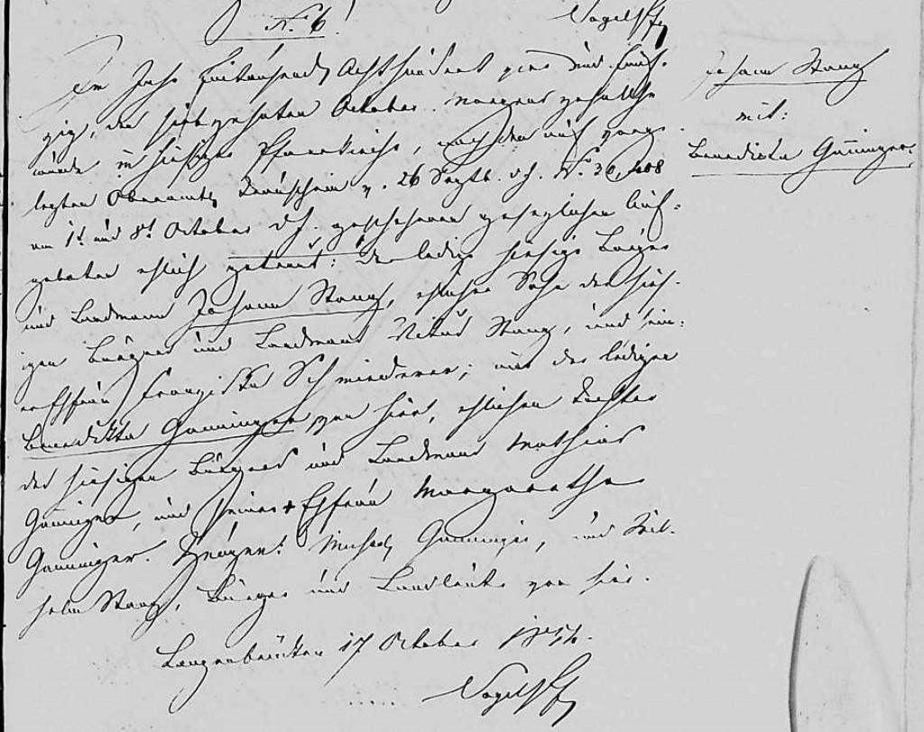 1854 - Ehe Ganninger, Benedikta