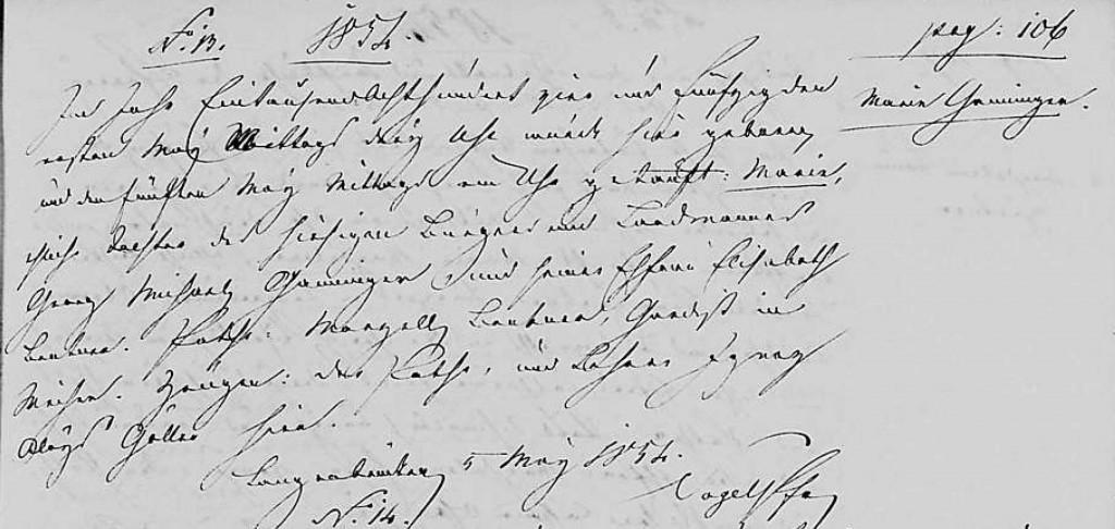 1854 - Geburt Ganninger, Maria