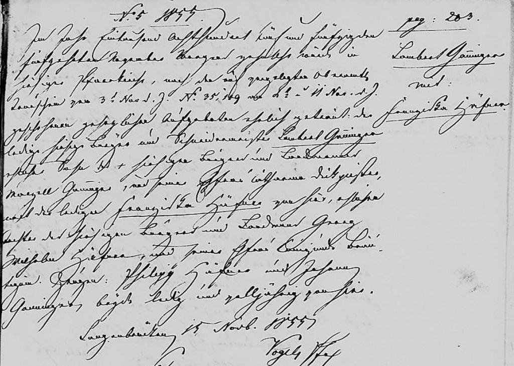 1855 - Ehe Ganninger, Lambert