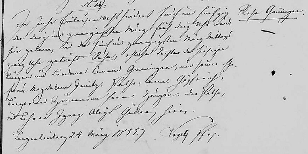 1855 - Geburt Ganninger, Rosa