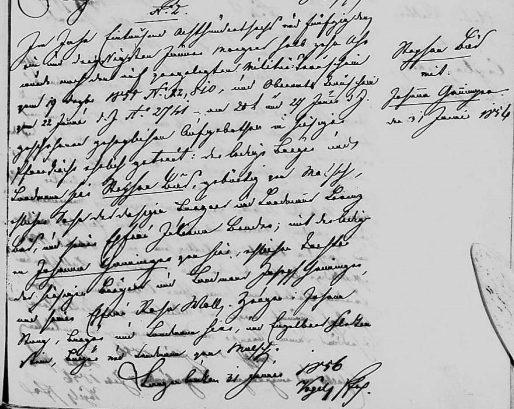 1856 - Ehe Ganninger, Johanna