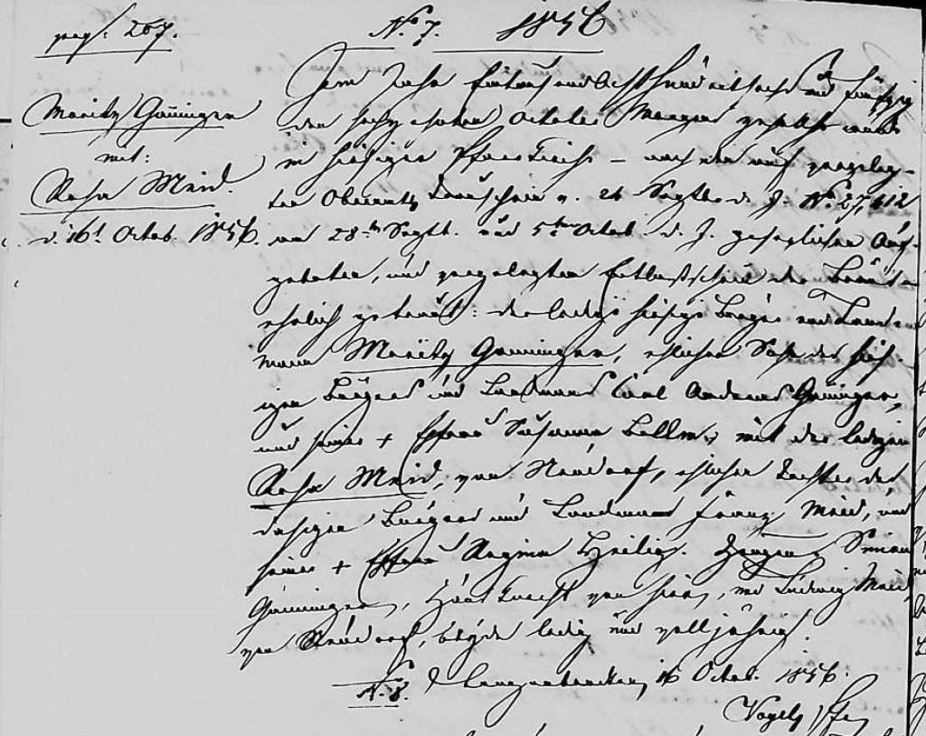 1856 - Ehe Ganninger, Moritz