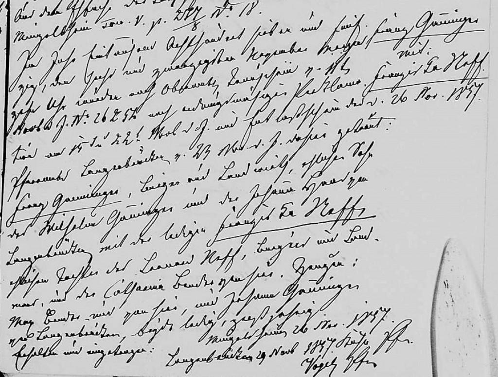 1857 - Ehe Ganninger, Franz