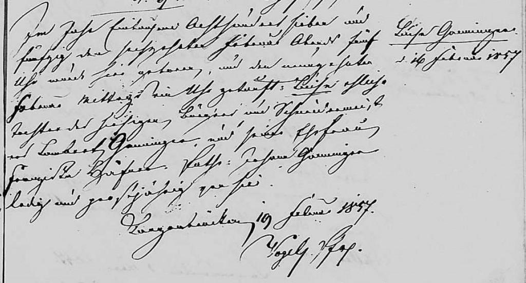1857 - Geburt Ganninger, Luisa