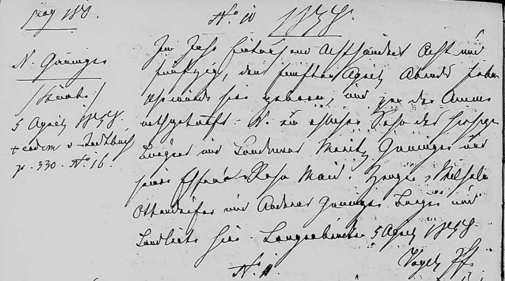 1858 - Geburt Ganninger, maennlich