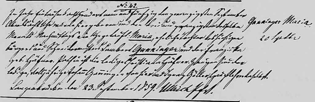 1859 - Geburt Ganninger, Maria