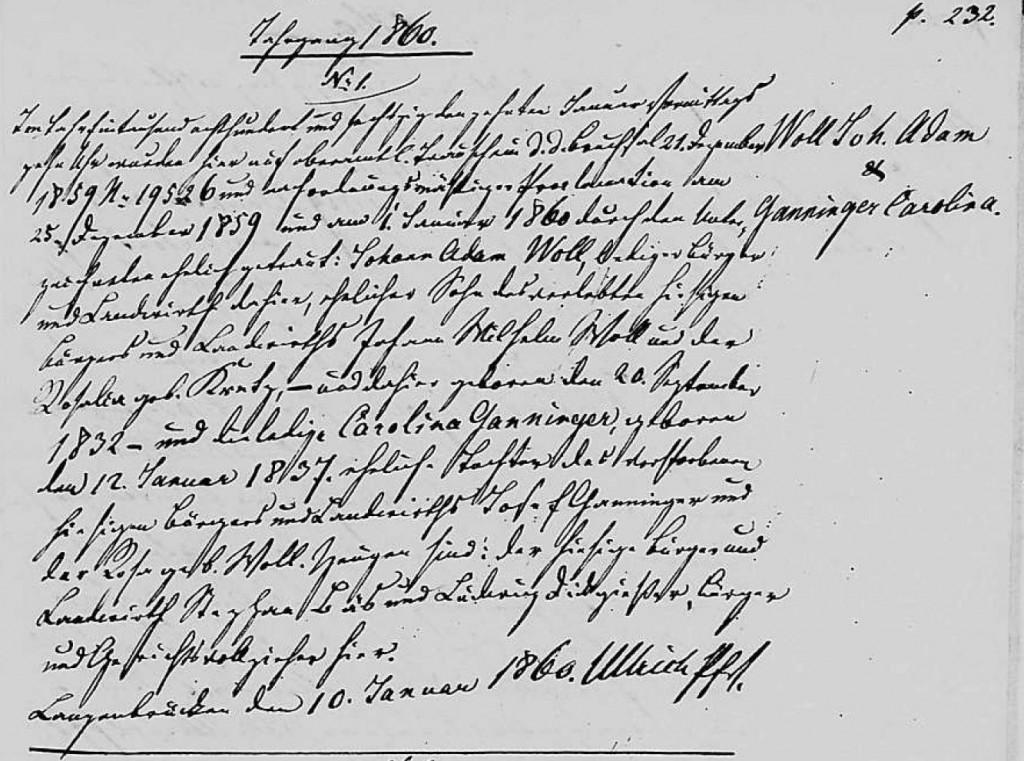 1860 - Ehe Ganninger, Carolina