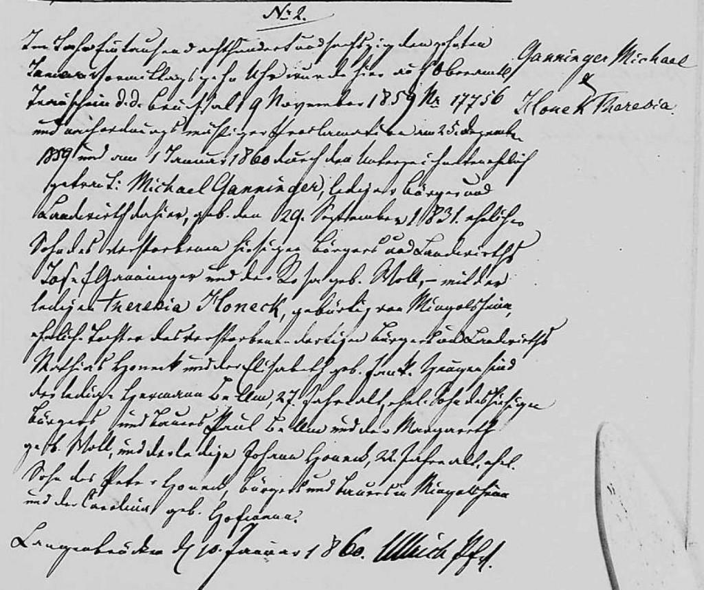 1860 - Ehe Ganninger, Michael