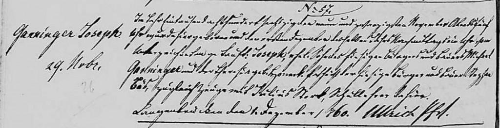 1860 - Geburt Ganninger, Joseph