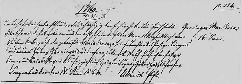 1860 - Geburt Ganninger, Maria Rosa