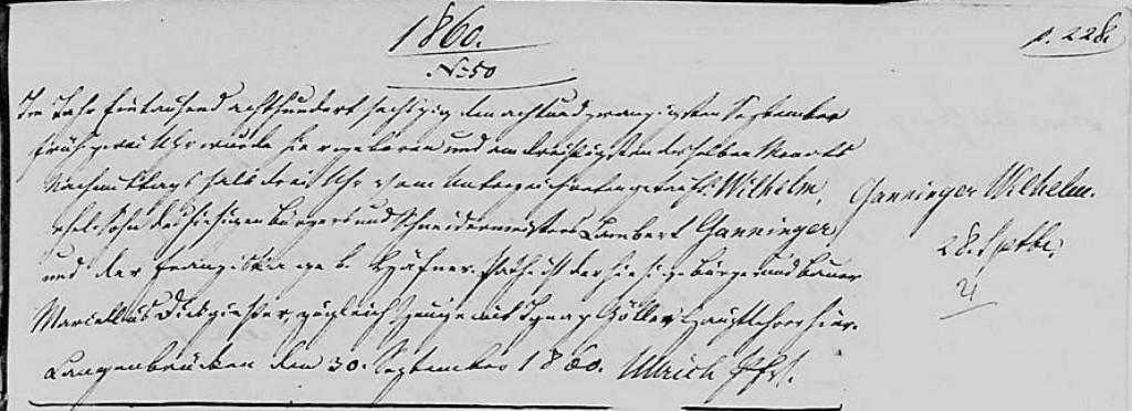 1860 - Geburt Ganninger, Wilhelm