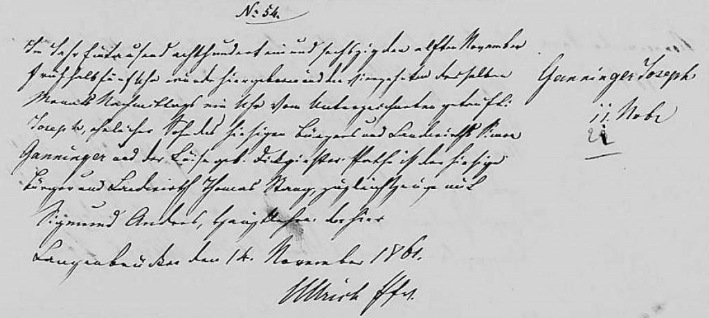 1861 - Geburt Ganninger, Joseph