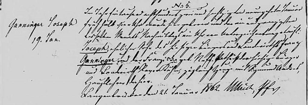 1862 - Geburt Ganninger, Joseph
