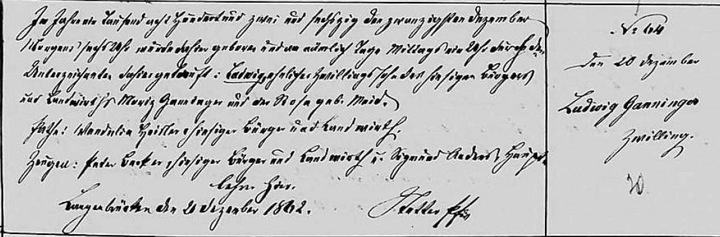 1862 - Geburt Ganninger, Ludwig