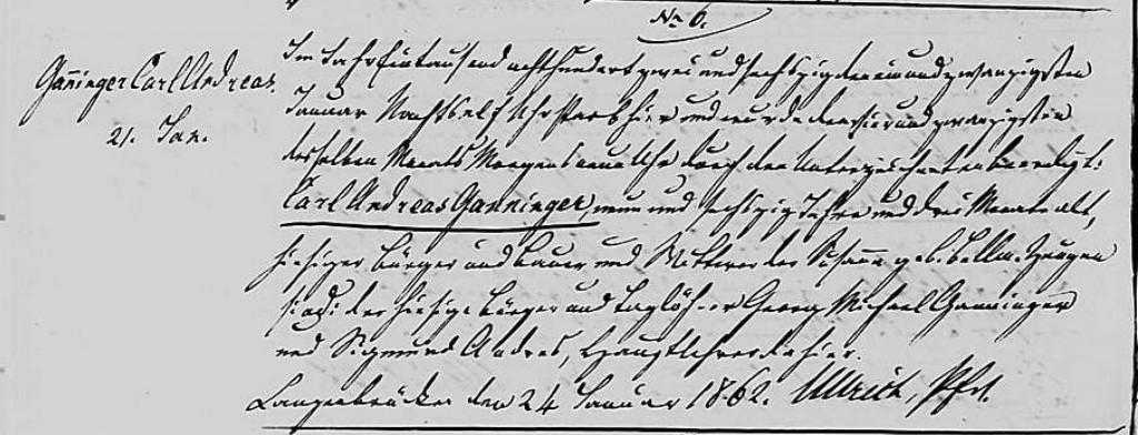1862 - Tod Ganninger, Carl Andreas