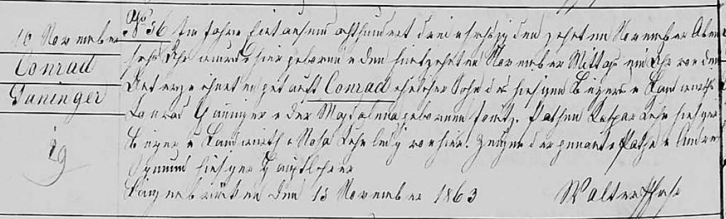 1863 - Geburt Ganninger, Conrad