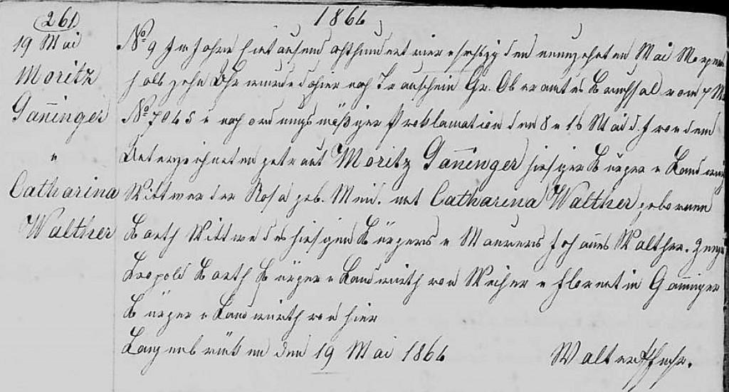 1864 - Ehe Ganninger, Moritz