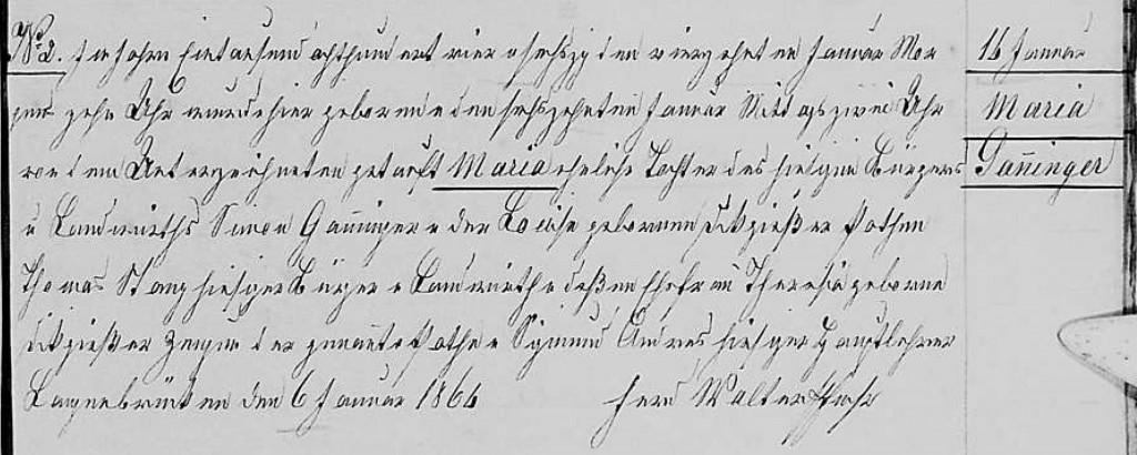 1864 - Geburt Ganninger, Maria