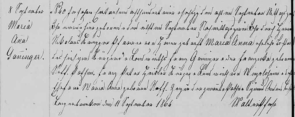 1864 - Geburt Ganninger, Maria Anna