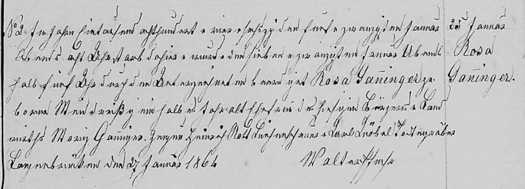 1864 - Tod Ganninger, Rosa geb Meid