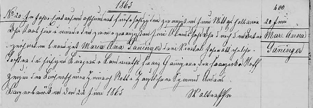 1865 - Tod Ganninger, Maria Anna