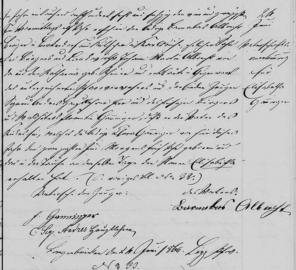 1866 - Geburt Ganninger, Elisabeth Vaterschafftserklaerung