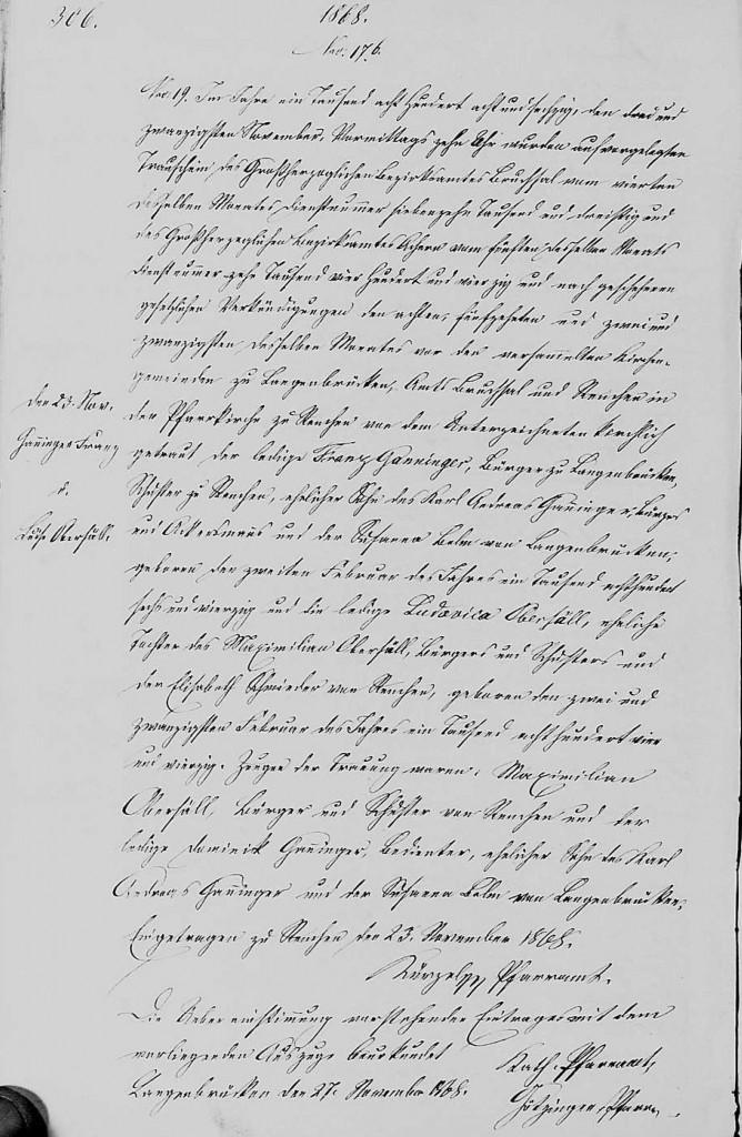 1868 - Ehe Ganninger, Franz