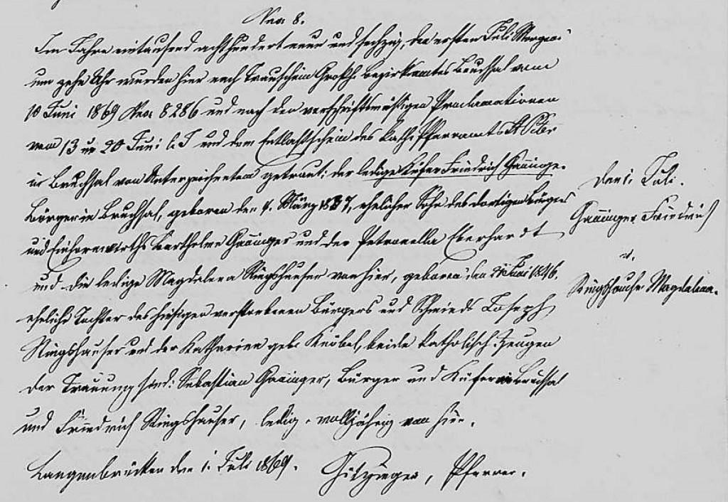1869 - Ehe Ganninger, Friedrich